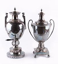 Two electro-plated twin handled hotwater urns