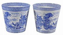 A pair of Wardle blue and white printed pottery 'Arcadian chariot