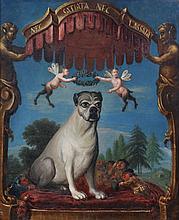 Italian School An apotheosis of a favourite pug Inscribed