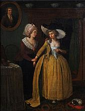 Dutch School A lady and her maid Oil on canvas 58 x 48 cm.
