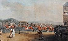 After Henry Bernard Chalon Racing scene Coloured engraving 52 x 85 cm.
