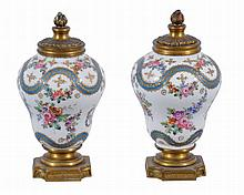 A pair of small French porcelain vases , late 19th century