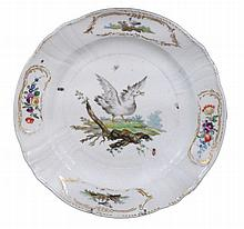 A Copenhagen plate , late 18th century, the centre painted with a goose