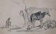 Dutch School A Hunting Party at rest with their horses Pen and ink