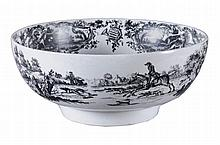 A Worcester black-printed punch bowl, circa 1770
