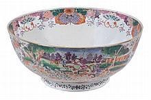 A Chinese export Mandarin palette hunting punch bowl, Qing Dynasty, Qianlong