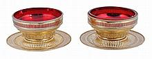 A pair of Victorian silver gilt dessert dishes on stands by F. B. Thomas & Co