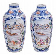 A pair of Chinese export tapering vases, Qing Dynasty , circa 1800