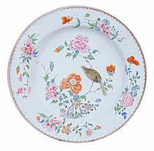 A Chinese famille rose circular dish , Qing Dynasty, Qianlong