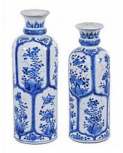 Two similar Chinese blue and white porcelain cylindrical vases, Qing Dynasty