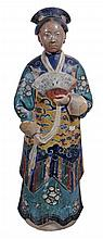 A Chinese painted terracotta figure of a woman , 19th century