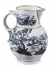 A Worcester cabbage-leaf-moulded mask jug, circa 1770