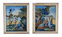 A pair Continental reverse glass paintings, mid 18th century, of Jacob