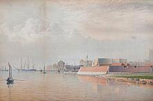 John Ward of Hull The Block House, the Citadel, Hull Watercolour 24.5 x 37 cm.