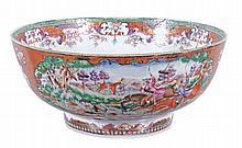 A Chinese export Mandarin palette punch bowl, Qing Dynasty , Qianlong