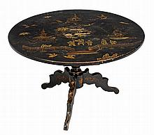 A black lacquer and japanned circular occasional table