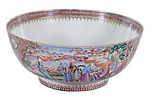 A Chinese famille rose punch bowl, Qing Dynasty, Qianlong