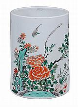 A cylindrical Chinese famille verte brush pot, Qing Dynasty, Kangxi