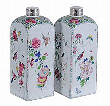 A pair of Chinese famille rose flasks, Qing Dynasty, Qianlong