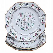 Three famille rose octagonal plates, Qing Dynasty, Qianlong