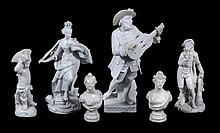 Two Meissen Marcolini figures of a Musician and Hope or Justice; together...