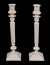 A pair of ivory candlesticks, probably Anglo-Indian, late 19th century