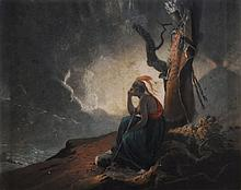 After Joseph Wright of Derby, A.R.A. The widow of an Indian chief Coloured...