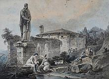 J T Depelchin An Italianate view with figures by ruins Pen and black ink