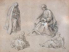 Abraham Bloemaert Figure studies Pen and wash over black chalk 15 x 19 cm