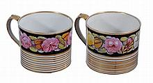 A pair of English porcelain mugs , first quarter 19th century, 9cm high