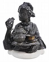 A bronze figure of a woman , French, 19th century