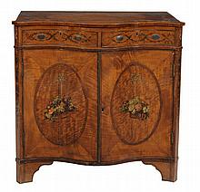 A Sheraton Revival crossbanded satin wood serpentine fronted side cabinet