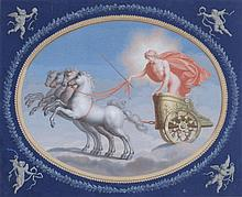 Continental School Classical maiden in chariot Gouache and watercolour