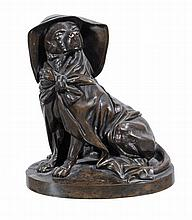 A French bronze figure of a dog, mid 19th century