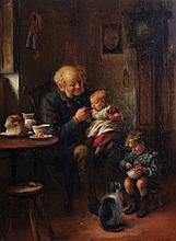 James Clark Breakfast with Grandpapa Oil on canvas Signed lower right J