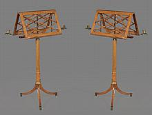 A near pair of Regency maple and parcel gilt duet stands, Erards, London