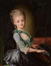 Circle of Antoine Vestier (French 1740-1824) - Portrait of a girl, half-length, playing a harpsichord