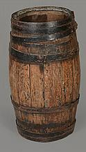 An oak coopered barrel stick stand , late 19th century, 67cm high