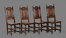 A set of three provincial oak standard chairs in William and Mary style