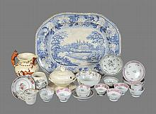 A collection of English china and porcelain to include a blue and white meat...