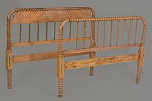 A French double bed head and foot board , late 19th/early 20th century