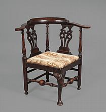 A mahogany corner chair , early 18th century and later