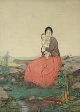 Dorothy Webster Hawksley (1884-1970) - Peace (Mother and Child)