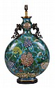 A large Chinese cloisonné moon flask, decorated to