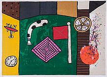Alan Davie (b.1920) - Flag, Clock and Motifs