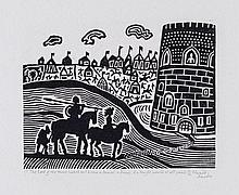 Edward Bawden (1903-1989) - The Lord of the Tower Looked Out & Saw a Damsel, a Dwarf & a Knight Armed at all Points
