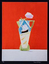 Craigie Aitchison (1926-2009) - Still Life on Vermillion