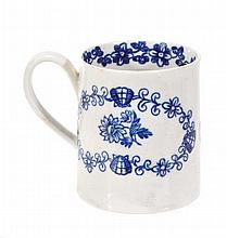 A Liverpool (Pennington) blue and white mug,