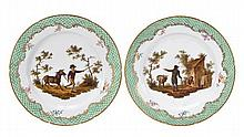 A pair of Coalport porcelain fable plates, each
