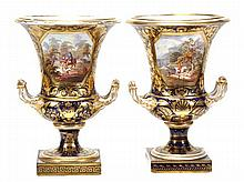 A pair of Derby blue-ground and gilt campana urns,